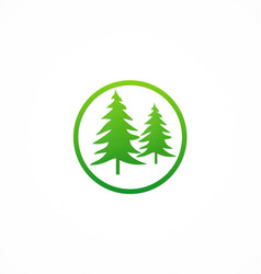 Green pine tree icon logo vector