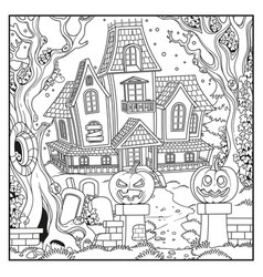 halloween background with witch house outlined vector image