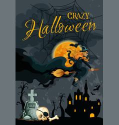 Halloween witch night cemetery poster vector