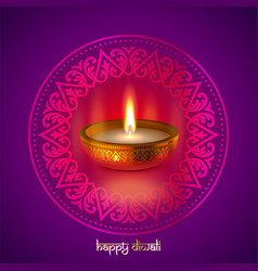 happy diwali gold candle light indian festival vector image