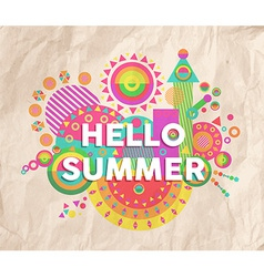 Hello summer quote poster design vector image