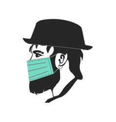 Hipster character with blindfold hat mask eps10 vector