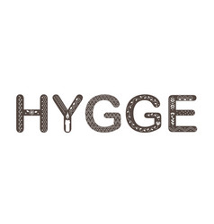 hygge lettering text with doodle ornament vector image
