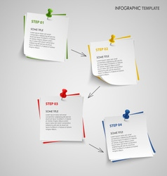Info graphic with note paper template vector image