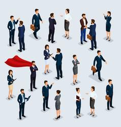Isometric people businessmen and businesswomen vector