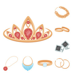 Jewelry and accessories cartoon icons in set vector