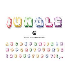 Jungle 3d bright font funny cartoon abc letters vector