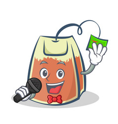Karaoke tea bag character cartoon art vector
