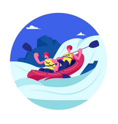kayaking or rafting sport competition sportsmen vector image