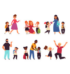 kids go to school students parents child with vector image