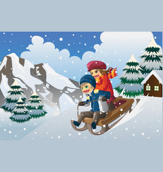 kids sledding in the snow vector image