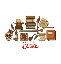 Literature old books shop manuscripts and ancient vector