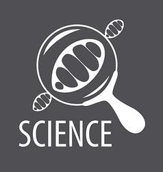 Logo DNA through a magnifying glass vector