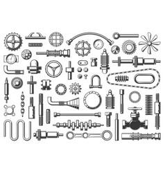 Machine parts icons mechanic equipment set vector