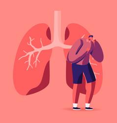 Man coughing near huge diseased lungs pulmonology vector