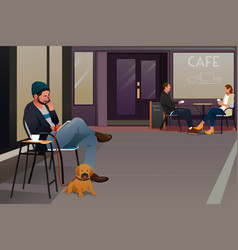man sitting in a cafe talking on the phone vector image
