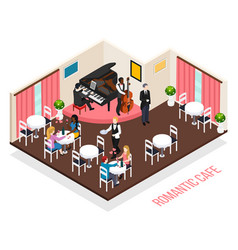musicians romantic cafe isometric composition vector image