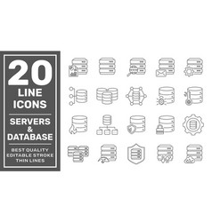 network and hosting related line icon set server vector image