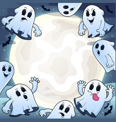 Night sky with ghosts theme 1 vector