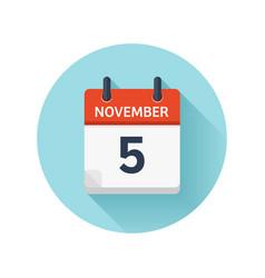 November 5 flat daily calendar icon date vector
