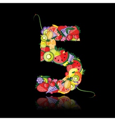 Number five made from fruits vector