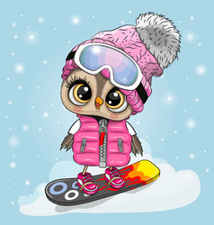 owl girl on a snowboard on a blue background vector image