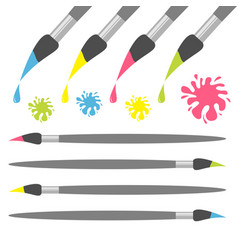 paint brush icon set pink yellow blue green color vector image