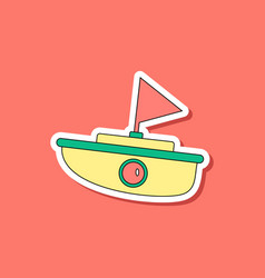 Paper sticker on stylish background kids toy boat vector
