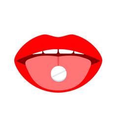 pill on tongue woman taking medicine open mouth vector image