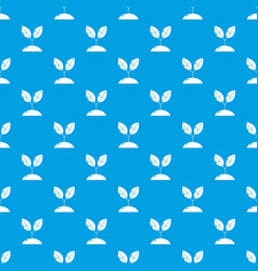 plant sprout pattern seamless blue vector image