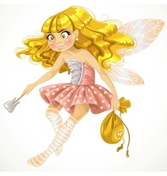 Pretty tooth fairy in pink vector