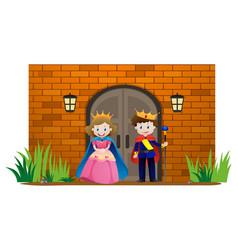 prince and princess at the palace vector image