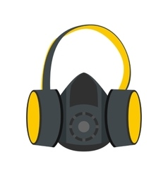 Protective ear muffs and respirator flat icon vector