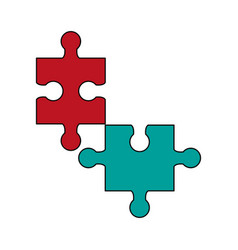 puzzles pieces isolated vector image