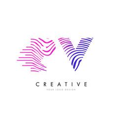 pv p v zebra lines letter logo design with vector image