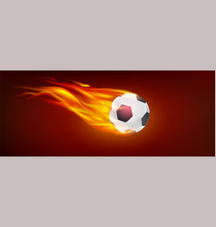 Realistic flying burning classical football ball vector