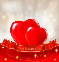red hearts valentine background vector image