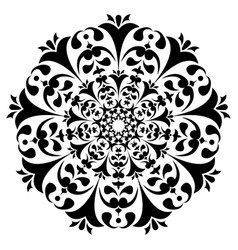 Round black and white ornament floral decoration vector