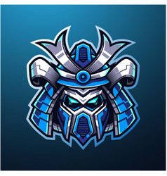 Samurai head mascot logo vector