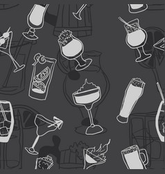 seamless alcohol pattern doodle drawings on dark vector image