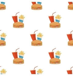 Seamless fast food pattern vector image