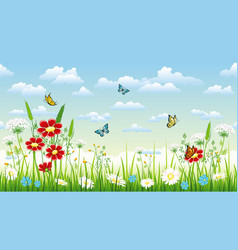 Seamless flower background with flowers and vector