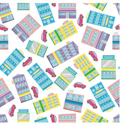 seamless pattern with cartoon flat houses and cars vector image