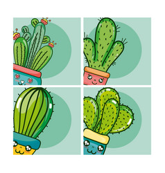 Set of cute houseplants cartoon on colorful frames vector