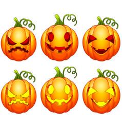 set of halloween pumpkins cartoon vector image