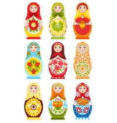 Set of nine colorful nesting dolls vector
