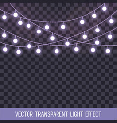 Set of overlapping glowing string lights on a vector