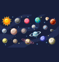 solar system cartoon collection planets vector image