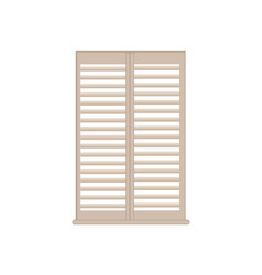 stylish wooden lattice shutters with windowsill vector image