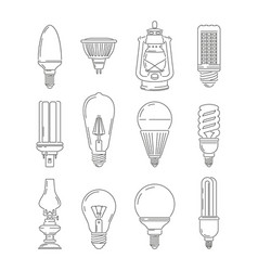 Symbols of light different bulbs mono line vector